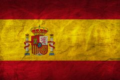 Spain Flag on Paper. Flag on an old Paper Texture Stock Images