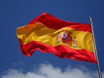 Spain Flag in Pole Stock Images