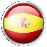Spain flag on round button Royalty Free Stock Image