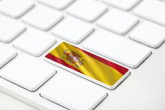 Spain flag with Selective Focus. Keyboard concepts, Spain flag with Selective Focus royalty free illustration