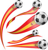 Spain  flag set. With soccer ball Stock Image