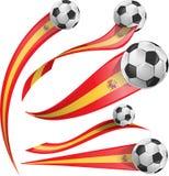Spain flag set. With soccer ball vector illustration