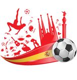 Spain flag with soccer ball Royalty Free Stock Images