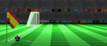 Spain flag on a soccer field. 3d illustration. Spain flag on a soccer football field. 3d illustration Stock Images