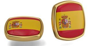 Spain flag symbol isolated on white background. 3D illustration. Spain flag symbol isolated on white background. 3D illustration stock illustration