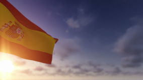 Spain Flag, Time Lapse Clouds stock video footage