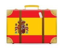 Spain flag travel suitcase Stock Photo