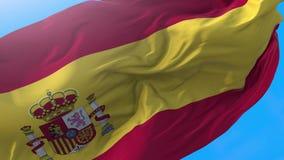 Spain flag video waving in wind 4K stock video