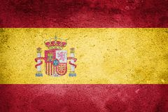Spain Flag on wall texture background. National Concept royalty free stock image
