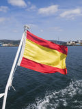 Spain flag waving in the sea Royalty Free Stock Photo