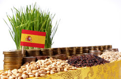 Spain flag waving with stack of money coins and piles of wheat. And rice seeds stock images