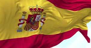 Spain Flag in the Wind. Close up Spain flag blowing in the wind, looped slowmotion, 4K stock video footage