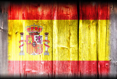 Spain flag on wood Royalty Free Stock Photo