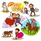 Spain Flamenco Corrida Football Travelling royalty free illustration