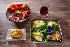 Spain food tapas ham sausage and cheese salad Royalty Free Stock Images