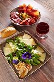 Spain food tapas ham sausage and cheese salad Stock Photos