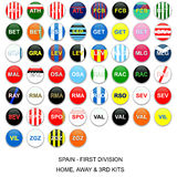 Spain Football League - Kit Teams. Set of buttons with home, away and third kits for spanish first division football league teams Stock Photo