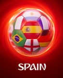 Spain Football World Championship Teams. Spain football with National Teams flags in World Championship Royalty Free Stock Images