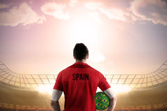 Spain football player holding ball Stock Photography