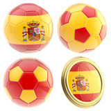 Spain football team attributes isolated Royalty Free Stock Image