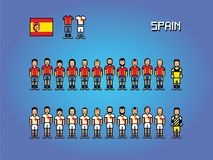 Spain football team uniforms pixel art game illustration. Spain football team uniforms pixel art soccer game illustration stock illustration