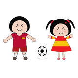 Spain football uniform. Vector boy and girl in Spain football uniform Stock Image