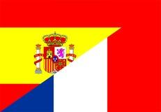 Spain france flag. Spain france neighbour countries half flag symbol Stock Photo