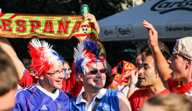 Spain and french football fans. Before the match in Donetsk in june 2012 on European cup Stock Images