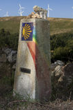 Spain, Galicia, Camino de Santiago Milestone Stock Photo