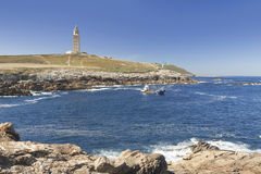 Spain, Galicia, A Coruna, Hercules Tower Lighthouse Stock Images