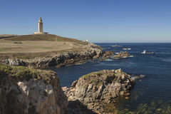 Spain, Galicia, A Coruna, Hercules Tower Lighthouse Royalty Free Stock Photos