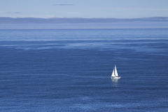 Spain, Galicia, Muxia, Sail-boat at sea Royalty Free Stock Photos