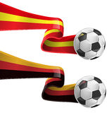 Spain and germany flag. With soccer ball Stock Images