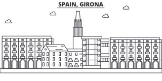 Spain, Girona architecture line skyline illustration. Linear vector cityscape with famous landmarks, city sights, design Royalty Free Stock Photography
