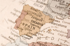 Spain on a globe. Detail shot of Spain on an English globe Royalty Free Stock Photography
