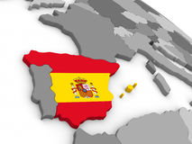 Spain on globe with flag Royalty Free Stock Image