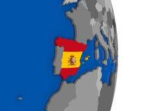 Spain on globe with flag Stock Photos