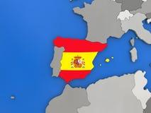 Spain on globe Stock Photos