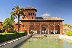 Granada. Alhambra. The Ladies Tower Torre de las Damas. Garden of the Partal. stock images