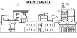 Spain, Granada architecture line skyline illustration. Linear vector cityscape with famous landmarks, city sights vector illustration