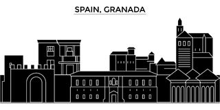 Spain, Granada architecture vector city skyline, travel cityscape with landmarks, buildings, isolated sights on royalty free illustration