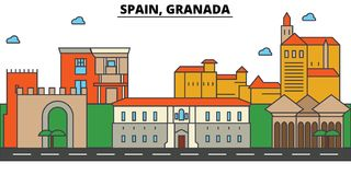 Spain, Granada. City skyline architecture . Editable royalty free illustration