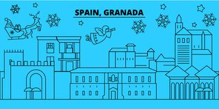 Spain, Granada winter holidays skyline. Merry Christmas, Happy New Year decorated banner with Santa Claus.Spain, Granada royalty free illustration