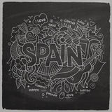 Spain hand lettering and doodles elements Stock Photos