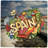 Spain hand lettering and doodles elements emblem Stock Images