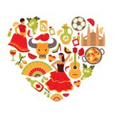 Spain heart print Royalty Free Stock Photos