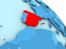 Spain on blue globe. Spain highlighted on blue 3D model of political globe. 3D illustration Stock Images