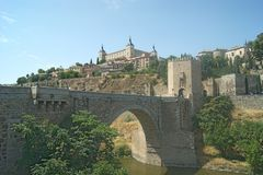 Spain, Toledo. A fortified bridge leading into the old city. royalty free stock image