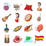 Spain icons cartoon Royalty Free Stock Images