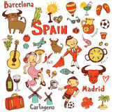 Spain icons collection Royalty Free Stock Photo